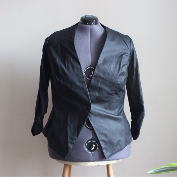 Fashion to Figure Jackets & Blazers - Black Faux Leather Blazer - 3/4 ruched sleeves